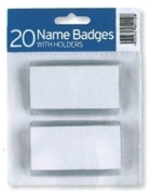 NAME BADGES + HOLDERS,20's 75x38mm H/pk