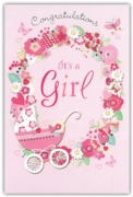 GREETING CARDS,Baby Girl 6's Floral Pram