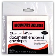 DOCUMENTS ENCLOSED ENV, S/Adh A7 25's
