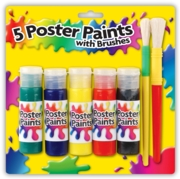 PAINT,Poster Bottles 5's Asst. 2 Brushes                CB367
