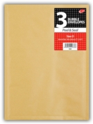 BUBBLE ENVELOPE,Manilla (D) Shrink Wrapped 3's 180x265mm