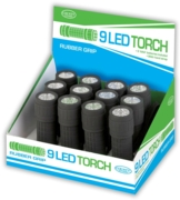 TORCH,9 LED Rubber Grip CDU