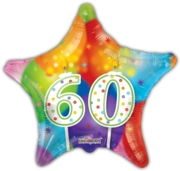 """BALLOONS,60th Star 18"""" Helium Foil (Was 1.99)"""