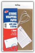 KRAFT PAPER, STRING & LABEL, Single Sheet, 75x100cm H/pk