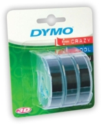 DYMO TAPE,Black 3's 9mm x 3m