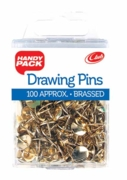 DRAWING PINS,Brass 9mm 100's H/pk (Handy Pack)