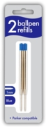 BALL PEN REFILLS,Twin Blue 1mm I/cd (Parker Compatible)