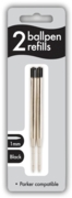 BALL PEN REFILLS,Twin Blk 1mm I/cd (Parker Compatible)