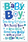 GREETING CARDS,Baby Boy 6's Text & Stars