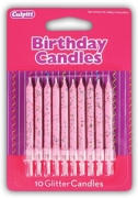 CAKE CANDLES,Pink Glitter 10's