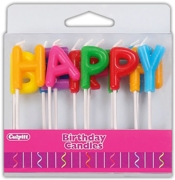 CAKE CANDLES,Happy Birthday Pick candles. H/pk