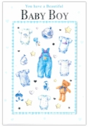 GREETING CARDS,Baby Boy 6's Elephant & Hearts