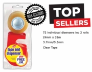 CLEAR TAPE,+Dispenser 2 Rolls 19x33 (Multi Pack Price,3x24)
