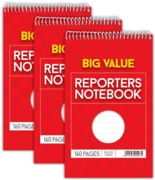 REPORTERS NOTEBOOK,200x125mm 160pg (Club)(3 Pack Price)