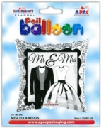 "BALLOONS,Mr & Mrs Square 18"" Helium Foil (Was 1.99)"