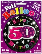 BALLOONS,Age 50 Female Helium Foil