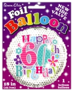 BALLOONS,Age 60 Female Helium Foil