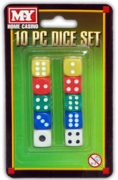 DICE SET,5 Colours 10pc. M-Y Home Casino,I/cd