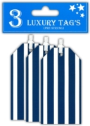 GIFT TAGS,Navy Stripe 3's (Was 59p)