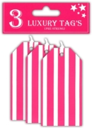 GIFT TAGS,Hot Pink Stripe 3's (£0.59)