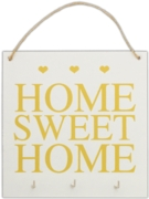 HOME SWEET HOME PLAQUE, Wood with 3 Hooks