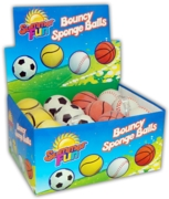 BALL,Bouncy Sponge 4 Asst. Sports ball Des 63mm CDU