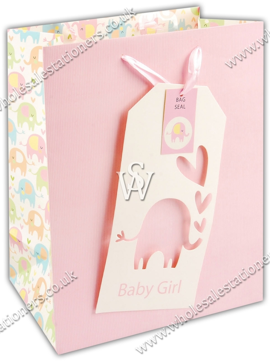 Baby Gift Bags Uk : Gift bag baby girl large wholesale stationers