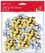 BOW,Mini Gold & Silver (20 in bag) H/pk