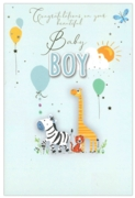 GREETING CARDS,Baby Boy 6's Animals & Balloons