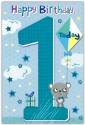 GREETING CARDS,Age 1 Male 6's Panda with Kite & Present