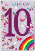 GREETING CARDS,Age 10 Female 6's Rainbow & Butterflies
