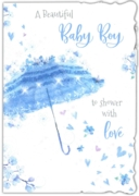 GREETING CARDS,Baby Boy 6's Umbrella & Hearts Shower