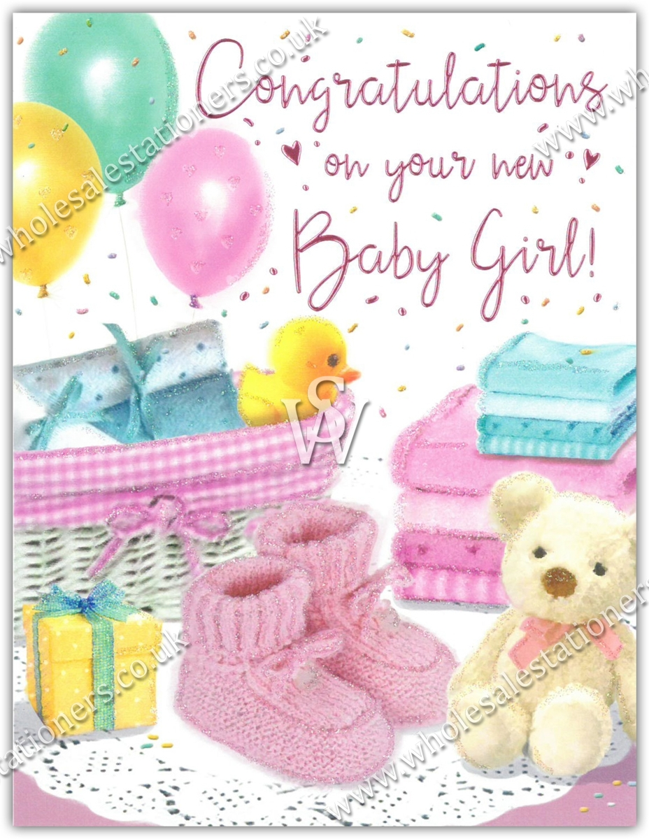 GREETING CARDS,Baby Girl 6's Moses Basket & Booties