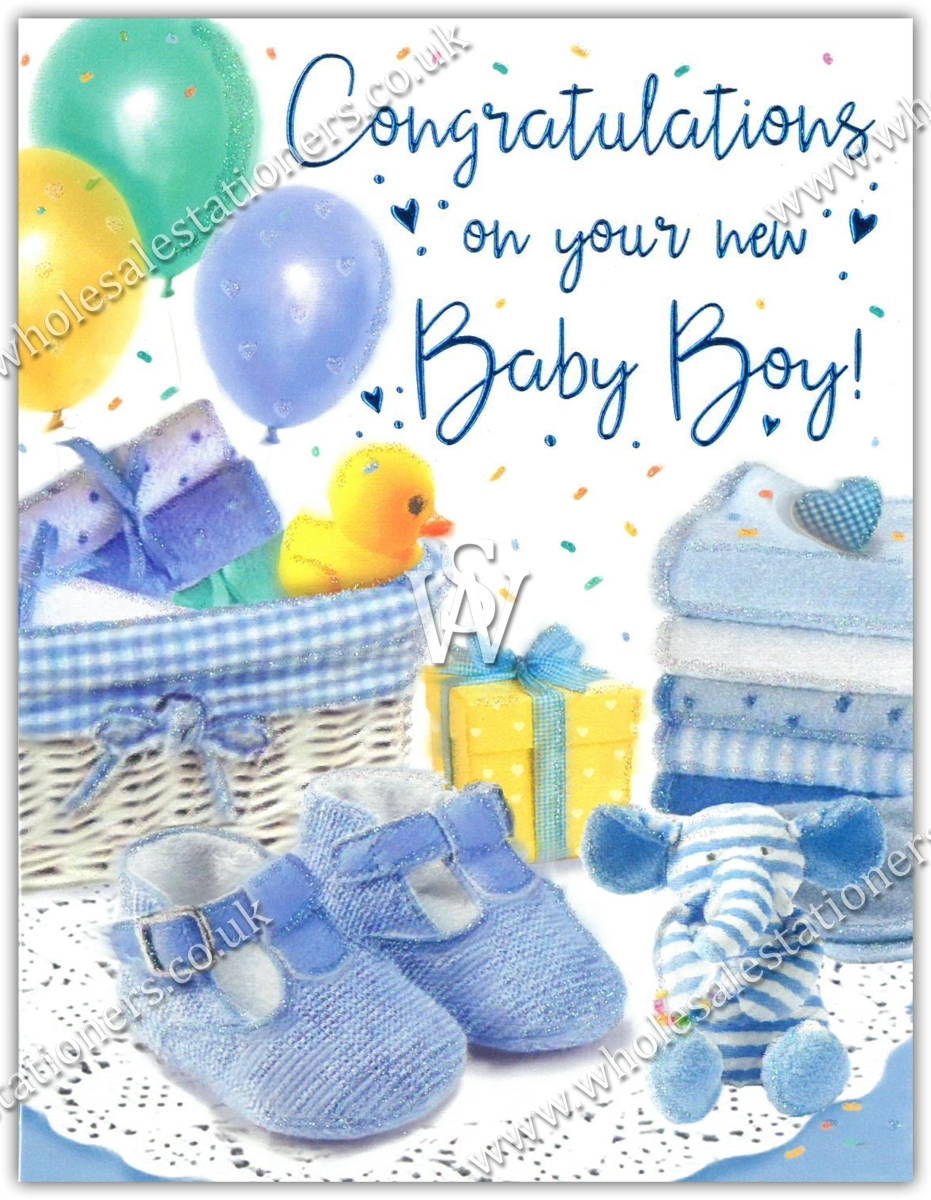 GREETING CARDS,Baby Boy 6's Moses Basket & Booties