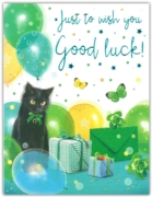 GREETING CARDS,Good Luck 6's Black Cat & Four Leaf Clovers