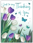 GREETING CARDS,Thinking of You 6's Tulips & Butterflies
