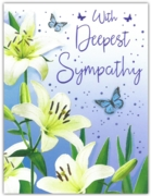 GREETING CARDS,Sympathy 6's Lilies & Butterflies