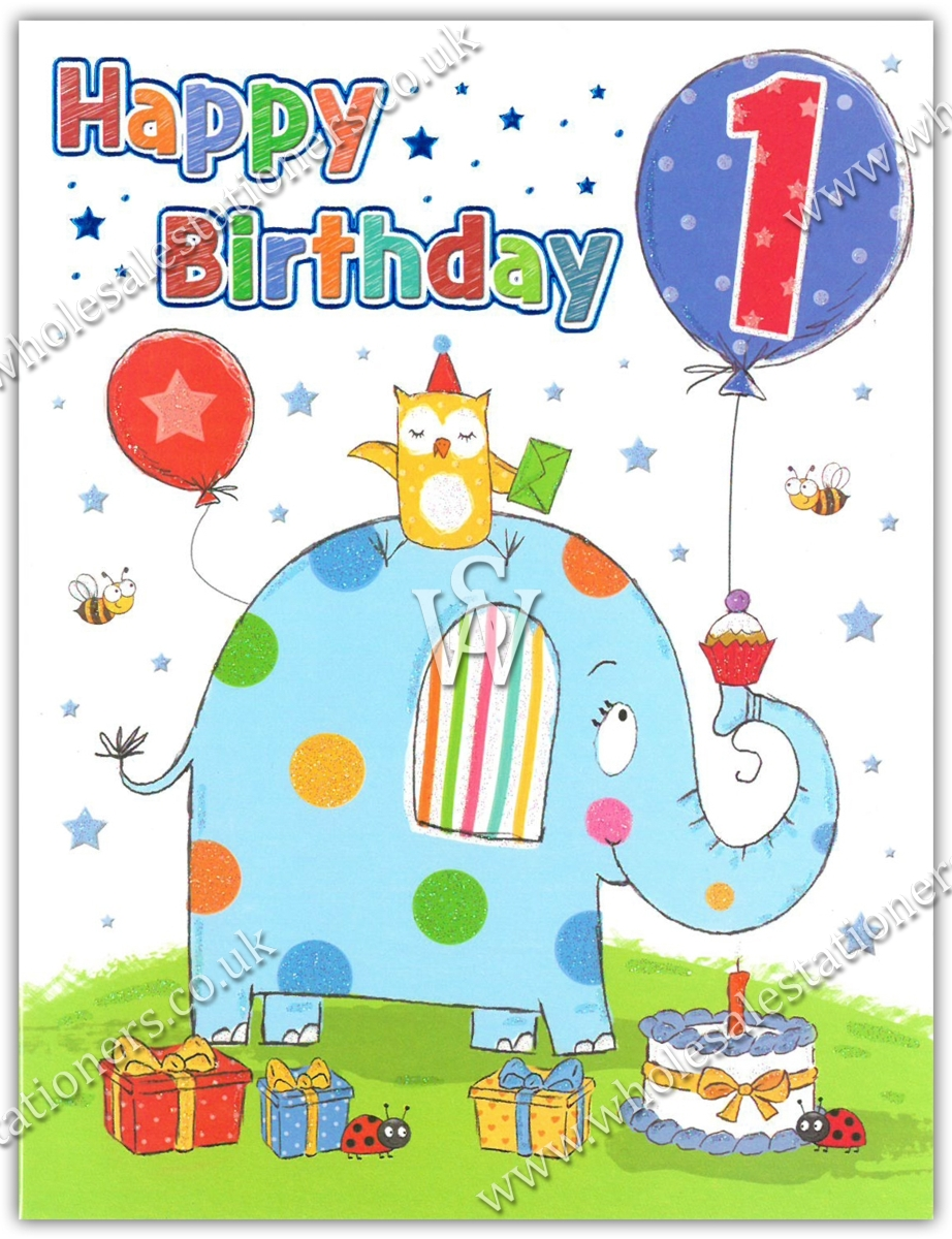 GREETING CARDS,Age 1 Male 6's Elephant & Presents