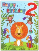GREETING CARDS,Age 2 Male 6's Lion & Monkeys