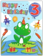 GREETING CARDS,Age 3 Male 6's Frog on Lillypad