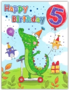 GREETING CARDS,Age 5 Male 6's Crocodile on Scooter
