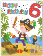GREETING CARDS,Age 6 Male 6's Pirate