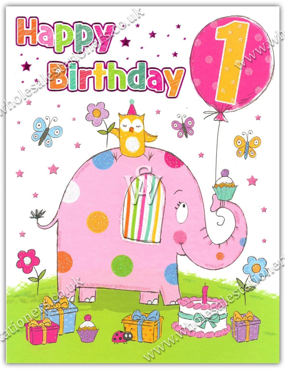GREETING CARDS,Age 1 Female 6's Elephant & Presents