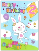 GREETING CARDS,Age 2 Female 6's Bunny & Kite