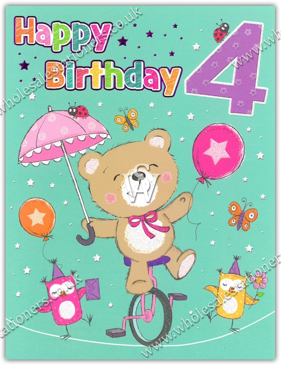 GREETING CARDS,Age 4 Female 6's Teddy with Umbrella