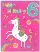 GREETING CARDS,Age 6 Female 6's Unicorn