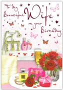 GREETING CARDS,Wife 6's Champagne, Roses & Bath