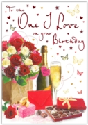 GREETING CARDS,One I Love 6's Roses & Champagne