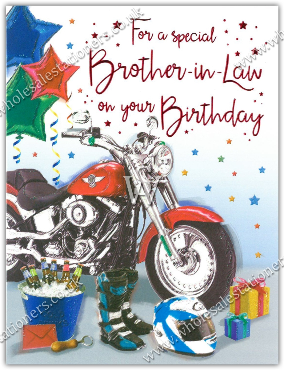 GREETING CARDS,Brother in Law 6's Motorbike & Beer