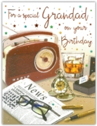GREETING CARDS,Grandad 6's Radio, Newspaper & Whiskey